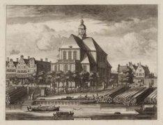 Oosterkerk, Wittenburgergracht gezien uit het zuiden. Op de voorgrond de Nieuwev…