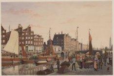 Groentenmarkt, prinsengracht b/d Elandsgracht, ziende naar de Westertoren te Ams…