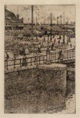 Stationsplein en Open Havenfront bij de Westertoegang. (spiegelbeeld). Techniek:…