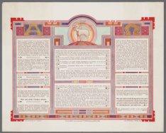 Eucharistische tekst. Devotieprent met in het latijn gestelde teksten betreffend…