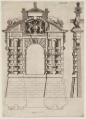 De ingang aan de veldzijde van de poort van de Haarlemmerpoort.  Prent 28 uit Ar…