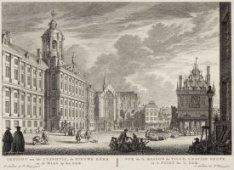 Gezicht van het Stadhuis, de Nieuwe Kerk en de Waag op den Dam. De Dam met links…