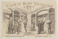 Waar is Sint-Nicolaas? Reclameplaatje  van uitgever en boekbinder J. Vlieger, ge…