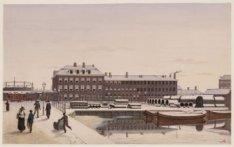 Hollandsche Gasfabriek vanaf de Reguliersgracht te Amsterdam (verso)