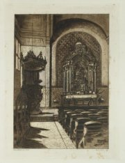 Interieur van de Oud Katholieke Kerk aan de Ruysdaelstraat 39, waarvan altaar en…