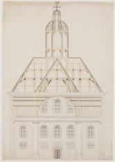 Verticale doorsnede van de kerk gezien naar de hoofdingang