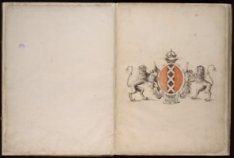 Blad met het wapen van Amsterdam geflankeerd door twee klimmende leeuwen en gede…