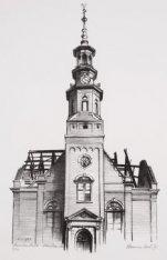 De toren van de Muiderkerk, Linnaeusstraat 37 met de voorgevel na de brand van 2…