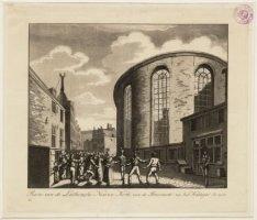 Ruïne van de Luthersche Nieuwe Kerk, van de Stroomarkt na het Kattegat te zien