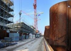Bouw van nieuwbouwwoningen tussen Westerdok en Westerdoksdijk gezien naar het no…