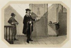 Schilder Rembrandt Harmensz van Rijn (1606-1669), zich voorbereidend op zijn ana…
