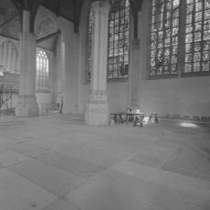 Dam 12, interieur van de Nieuwe Kerk tijdens restauratie