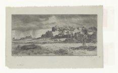 Boerderij in landschap met stormachtig weer. Techniek: ets op grijs papier