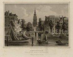 Amsterdam. Gezigt van den Amstel op de Zuiderkerk