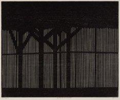 Interieur van een houtloods aan de Gevleweg. Techniek: houtsnede