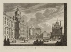 Gezicht van het Stadhuis, de Nieuwe Kerk en de Waag op den Dam