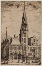 Dam westzijde met Oude Stadhuis, voor het afbreken van de torenspits in 1615