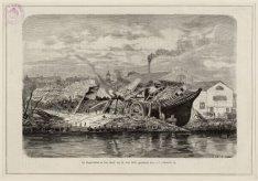 De Doggersbank na den brand van 21 Juni 1883, getekend door J.C. Greive Jr