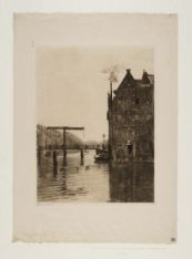 Rapenburgwal gezien naar Peperbrug, Brug 281. Links ingang Uilenburgergracht met…