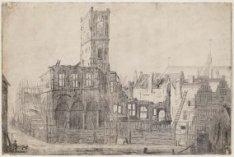 De ruïne van het oude stadhuis op de Dam na de brand van 7 juli 1652