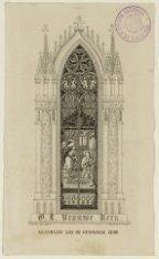 Onze Lieve Vrouwe Kerk, Keizersgracht 220. Interieur: glasraam aan de Evangeliez…