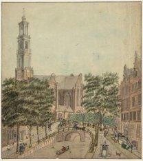 Rozengracht gezien naar de Westermarkt en Westerkerk. Techniek: pen in zwart, pe…