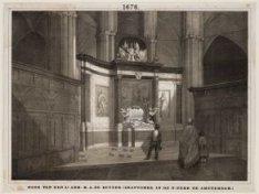 Het interieur van de Nieuwe Kerk, gezien in het koor met het praalgraf van de Mi…