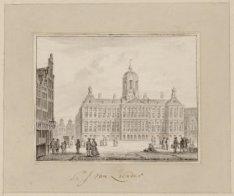 De westzijde van de Dam met het Nieuwe Stadhuis (na 1808 Koninklijk Paleis), teg…
