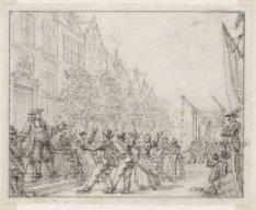 Een woedende menigte voor het huis van admiraal Michiel de Ruyter aan de Buitenk…