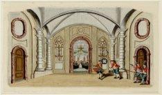 Interieur van de Schouwburg, met decor van de Kloosterkerk. Techniek: ets (handg…