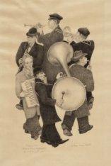 Straatmuzikanten. Groepje voor 4 blazers, accordeonspeler en slagwerker, lopend …