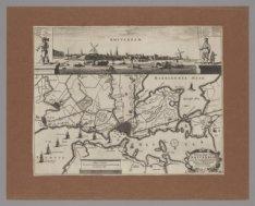Vertooninge van Amsterdam met syn omleggende Dorpen, Wegen en Wateringen, Schild…