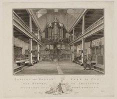 Gezicht der Mennon.t. Kerk de Zon, van Binnen, te Amsterdam