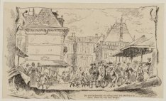 De Zeevischmarkt en afslag naar het Stadhuis te zien