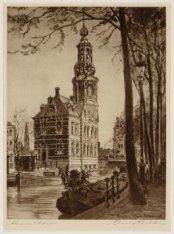 Gezicht op de Munttoren, Muntplein gezien vanaf het Singel. Techniek: ets