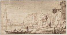 De Haringpakkerij gezien in oostelijke richting vanaf de Droogbak (Haarlemmerhou…
