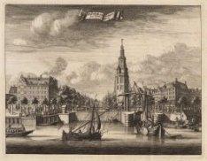 Links IJgracht, op de voorgrond: Kikkerbilssluis, daarachter de Montelbaanstoren…