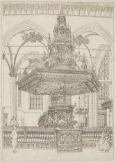 Afbeelding van de preekstoel in de Nieuwe Kerk