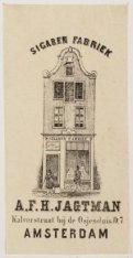 Sigarenfabriek. A.F.H. Jagtman Kalverstraat bij de Osjessluis D 7. Amsterdam
