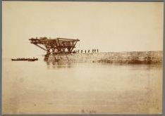 Uiteinde Noorder Zeehoofd in aanbouw (binnenzijde), juni 1870