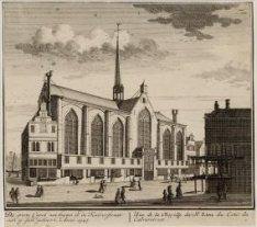 De groote Capel van buyten in de Kalverstraat aan te sien gebouwt Anno 1345