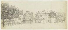 De Botermarkt, tegenwoordig het Rembrandtplein, met rechts het Waaggebouw, ook w…