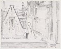 Uitzicht uit het keukenraam op de Elandsgracht 3, derde verdieping, gezien naar …