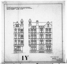 Ontwerptekeningen met aanzichten en plattegronden voor een eerste ontwerp; nr. 9