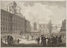 Het verwelkomen van de burgerdeputatie voor het stadhuis (nu het Koninklijk Pale…