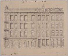 Ontwerptekening voor de bouw van de huizen Tweede Jan van der Heijdenstraat 41-4…