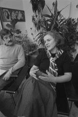 Galeriehouders geven een radio-interview in de Oude Lutherse kerk, Singel 411