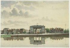 Singelgracht / Haarlemmerplein met Willemspoort (Haarlemmerpoort) gezien vanaf S…