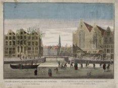 Winter-gezicht op de Cingel, voor de Luthersche Oude Kerk, te zien tot Amsterdam