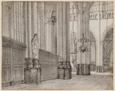 Interieur Nieuwe Kerk, links het wapenbord van de afstammelingen van Willem Egge…